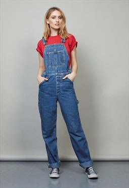Vintage blue full length denim dungarees