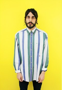Vintage 90's Tommy Hilfiger Blue & Green Striped Shirt