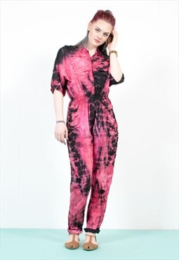 90's Black And Pink Tie Dye Jumpsuit