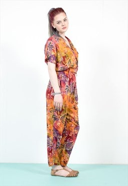 Vintage 90's Floral Pattern Tropical Jumpsuit