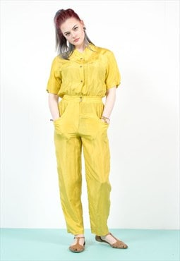 Vintage 90's Yellow Silk Jumpsuit
