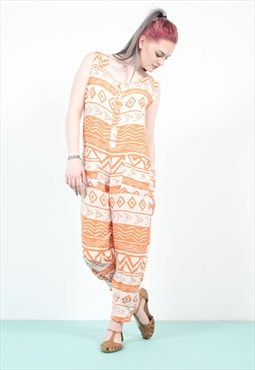 90's Orange Aztec  Boho Pattern Jumpsuit