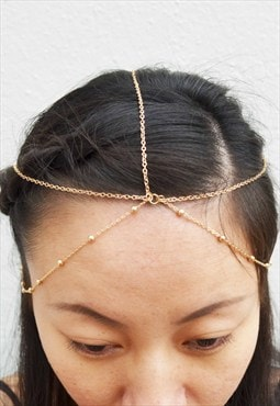 Gold colour chain 5 way headpiece