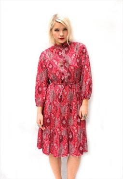 70s Silky Red Paisley Dress 8 10 12
