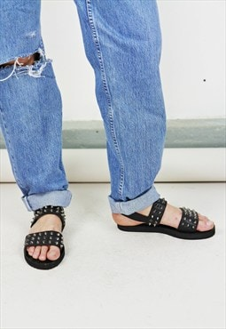 Two Strap Black Studded Sandals