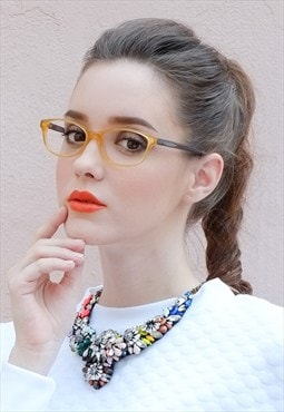 Translucent Two Tone Orange Upswept Oval Frame