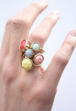 1990's Pastel Stone Stacking Rings