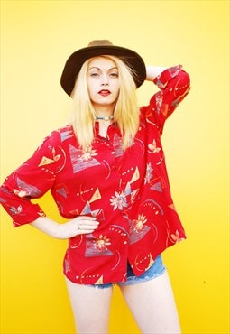 90's retro floral psychedelic print oversized blouse shirt