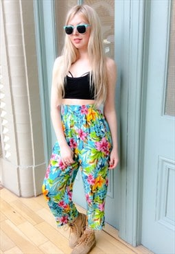 90's Tropical Print Trousers
