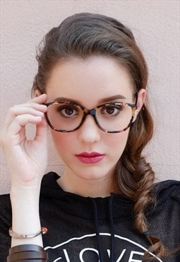 Oversized Vintage Style Tortoiseshell Thin Square Glasses
