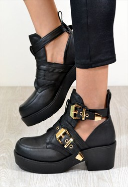 MOLLY Chunky Heel Double Buckle Ankle Biker Boots in Black
