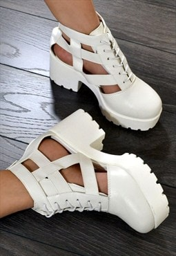 SKYLAR Chunky Heel Biker Style Cut Out Ankle Boots in White