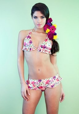 Vintage Lazy Summer Floral Frilly Bikini Top