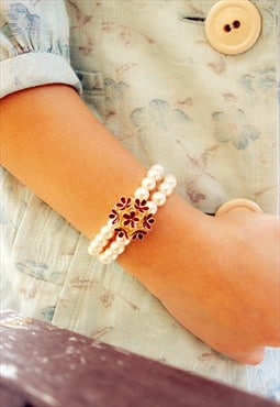 Pearl Ball Bracelet with Burgundy Floral design
