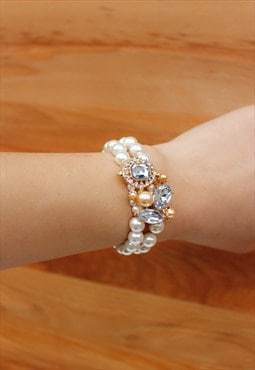 Pearl Ball Bracelet with Diamante design