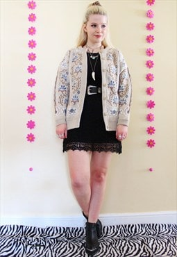 Vintage 90s grunge floral patterned knit cardigan
