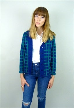 1960s Blue checked cardigan