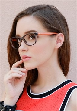 Two Tone D-shape Orange Chocolate Brown Rectangular Frame