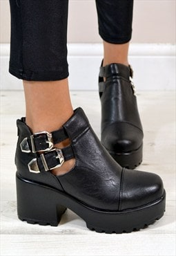 KIMI Cut Out Chunky Heel Double Buckle Ankle Boots in BLACK