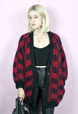 Vintage Mohair Fluffy Knit Oversized Cardigan