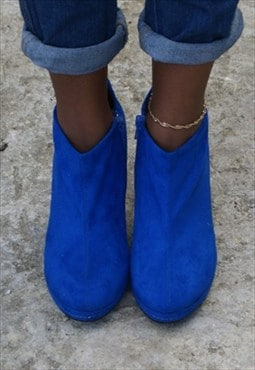 High Heel Colour Faux Suede Zip Up Ankle Boot Shoes - Blue