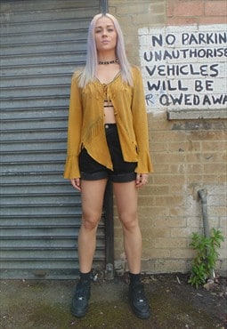 Yellow Vintage Cardigan with Tassles