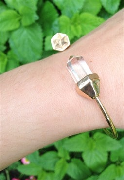 Gold Facet Clear Crystal Arm Cuff