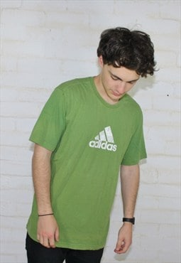 ADIDAS 90's Vintage Green Sports Crew Neck T Shirt