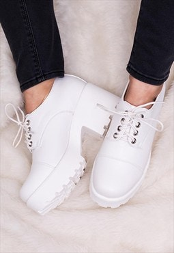 LULA Heeled Cleated Sole Platform Ankle Boots - White