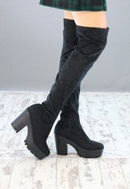 Womens Black  Small Heel Knee High Boots