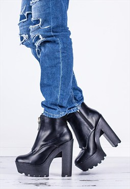NASTY Chunky Cleated Sole Platform Boots - Black