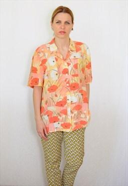 Vintage 80's oversized  blouse in flower print