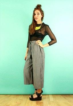 Black & White Stripe Wide Leg Cropped Trousers