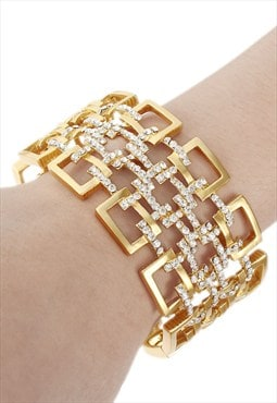 Art Deco gold plated crystal oblong shape bracelet bangle