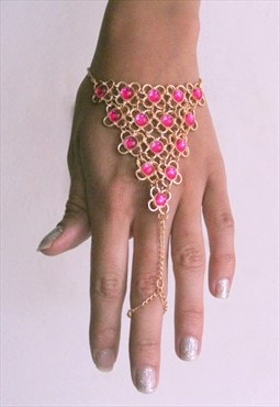 Golden bracelet and ring pink rhinestones chains