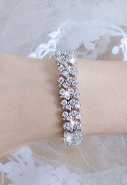 Bridal flower clear zircon crystal bracelet chain