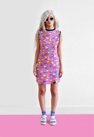 PINK DUPLEX PRINT SLEEVELESS T SHIRT DRESS