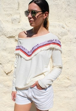 Indian white sweater one size embroidery