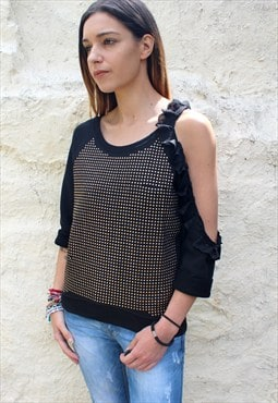 Sweat black lace bare shoulder a size S / M