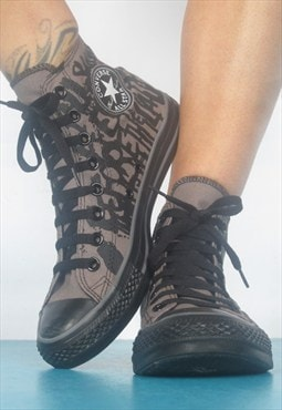 90s Brown & Black Graffiti Print Converse Hi-Tops Trainers