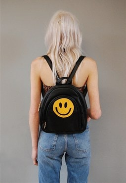 Smiley Face Black Backpack Faux Leather Bag