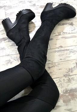 EZMAY Chunky Heel Biker Style Chelsea Over Knee Boots Blac