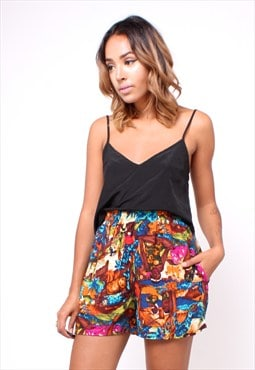 80s Vintage Abstract Print High Waisted Shorts 266TD53