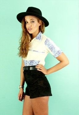 70's Black Patchwork Suede High Waisted Shorts