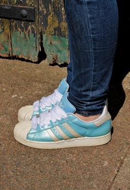 Vintage Adidas Shell Toe Aqua Blue Patent Leather Trainers