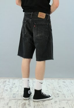 Men's Vintage Black Faded Levis Denim 501 Shorts Z-1171