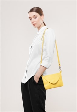 Yellow Ipad mini sized leather handbag / To order