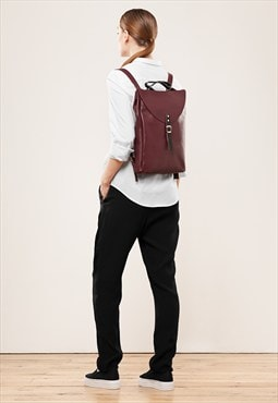 Cherry small leather backpack rucksack / To order