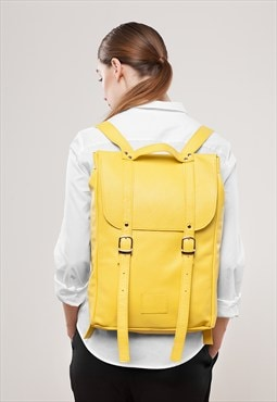 Yellow medium size leather backpack / To order