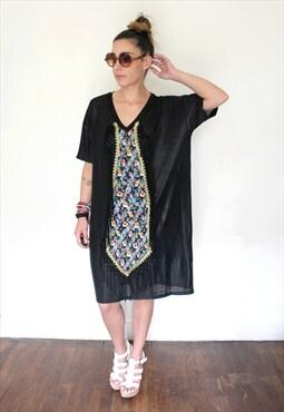 brilliant black print dress one size seven dwarfs